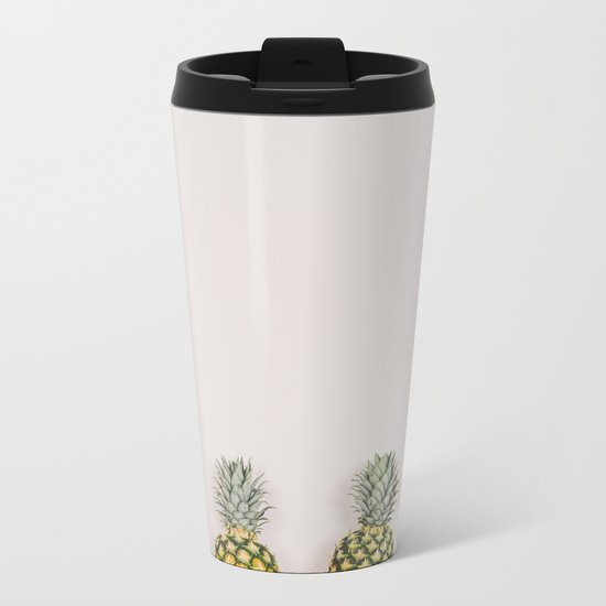 Pineapples in a Row Metal Travel Mug