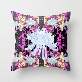 Black & Grey  Decorative Modern White Mums Patterns Flowers Throw Pillow