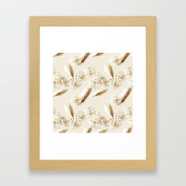 Golden Peacock Feather Pattern 06 Framed Art Print