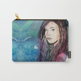 Mermaid girl with an owl tattoo Carry-All Pouch
