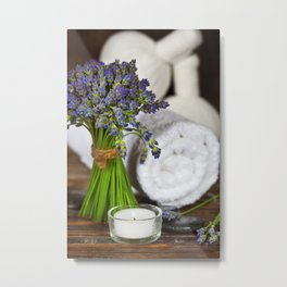 Fresh  lavender flowers, zen stones,Herbal massage balls , candle and towel over wooden surface Metal Print