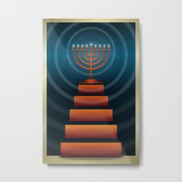 Art Deco Hanukkah Menorah Metal Print