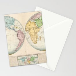 Vintage Map of The World (1862) 2 Stationery Cards