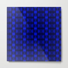 Fashionable large floral from small blue intersecting squares in stripes dark cage. Metal Print