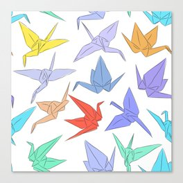 Japanese Origami paper cranes symbol of happiness, luck and longevity Canvas Print