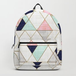 Mod Triangles - Navy Blush Mint Rucksack