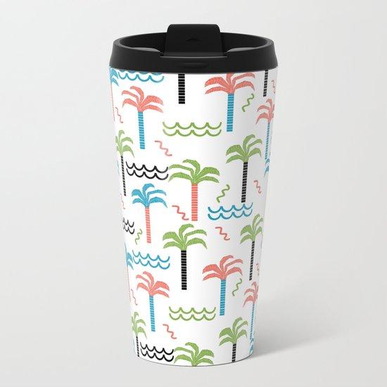 summer tropical shapes modern minimal abstract pattern trendy gifts Metal Travel Mug