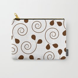 Brown Floral Swirl Pattern Carry-All Pouch