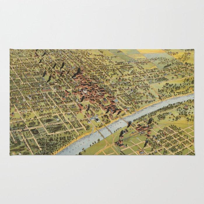 Vintage Pictorial Map of Waco Texas (1892) Rug