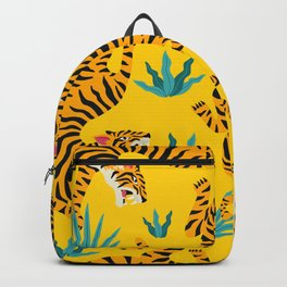 Yellow Tiger Tropical Pattern Backpack