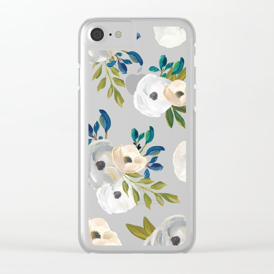 Midnight Florals - Blue & Cream Clear iPhone Case