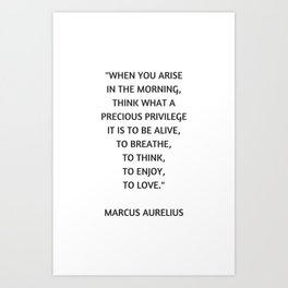 Stoic Philosophy Quote - Marcus Aurelius - What a precious privilege it is to be alive Art Print