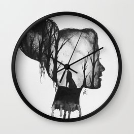 All in her Head in black and white Wall Clock