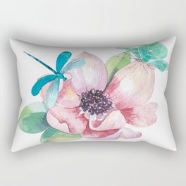Butterfly and Dragonfly with Flowers Rectangular Pillow