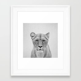 Lioness - Black & White Framed Art Print