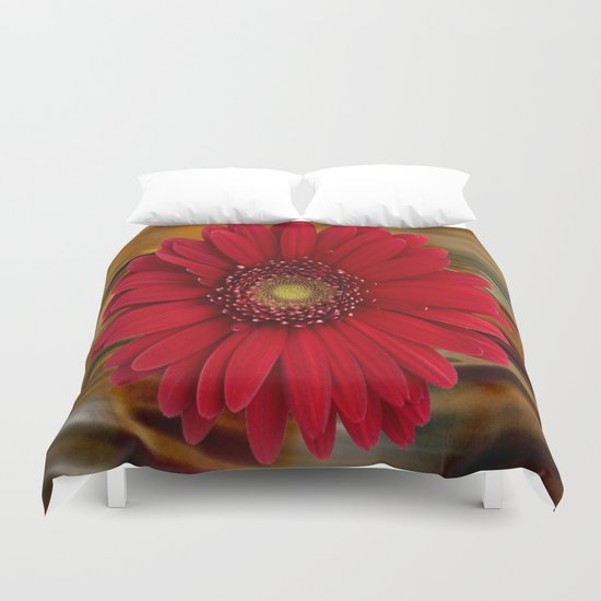 Red Daisy Abstract Duvet Cover