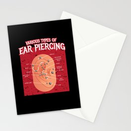 Various Types Of Ear Piercing Earring Stationery Cards