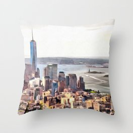 New York, panoramic view, USA Throw Pillow