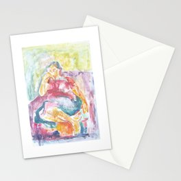 Woman in an armchair 3 watercolor Stationery Cards
