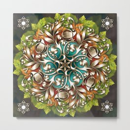 Mandala Metallic Ornament Metal Print