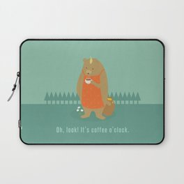 Bear Drinking Coffee Laptop Sleeve