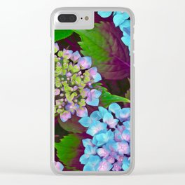 Hydrangea Pink and Blue Clear iPhone Case