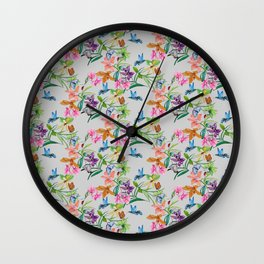 print of flowers, plants and hummingbirds Wall Clock