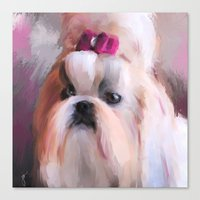 shih tzu Canvas Prints featuring Little Girl Shih Tzu by Jai Johnson