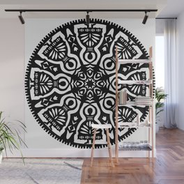 Polish Papercut Dancers Black Wall Mural