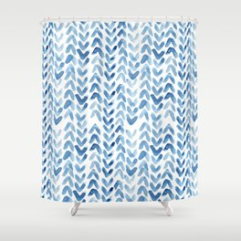Blue Chevron Watercolour Shower Curtain