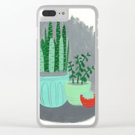 House Plants jade plant cactus snake plant Clear iPhone Case