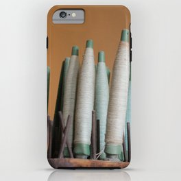 Vintage industrial threads iPhone Case