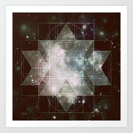 Galaxy Sacred Geometry: Dark Rhombic Hexecontahedron Art Print