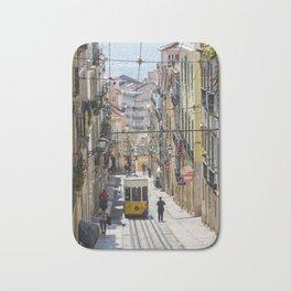 Lisbon Tram on a steep cobbled street Bath Mat