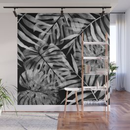 Black and white monstera Wall Mural