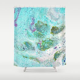 Abstract contemporary painting, aerial view of the ocean and its coral reef Shower Curtain