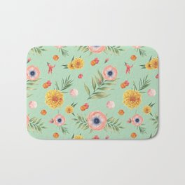 Hand painted coral yellow watercolor geometric floral Bath Mat