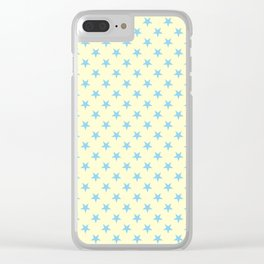 Baby Blue on Cream Yellow Stars Clear iPhone Case