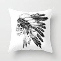 american Throw Pillows featuring Native American by Motohiro NEZU
