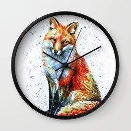 FOX 2 watercolor Wall Clock