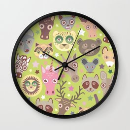 funny animals muzzle seamless pattern, Green background with stars. Vector illustration Wall Clock