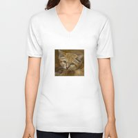 sand V-neck T-shirts featuring Sand Cat by Catspaws