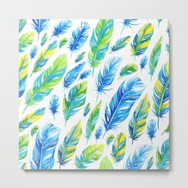 Watercolor feathers Metal Print