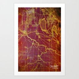 Calumet old vintage map year 1892 usa maps Art Print