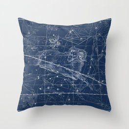 Aries sky star map Throw Pillow