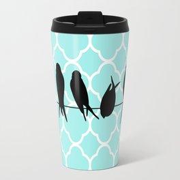 Vintage elegant teal quatrefoil black bird silhouette Travel Mug