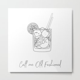 Call Me Old Fashioned Line Art Black and White Metal Print