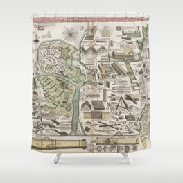 Vintage Military Defense Fortifications Diagram (1716) Shower Curtain