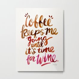 Coffee & Wine – Brown & Magenta Ombré Metal Print