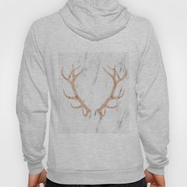 Rose gold antlers on soft white marble Hoody